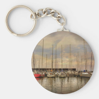 Sail Boats At The Marina Waiting For the Weekend Key Ring