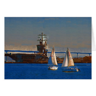 Sail boats in San Diego Harbor Greeting Card
