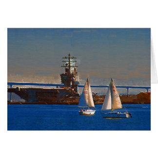 Sail boats in San Diego Harbor Card