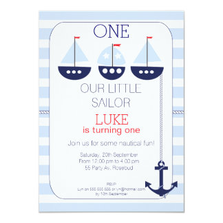 Sail Boats Nautical 1st Birthday Invitation