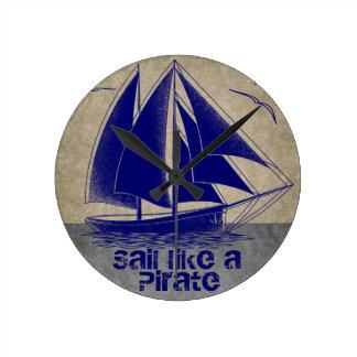 Sail like a pirate, boy nautical clock