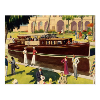 Sail Motor Boat Vintage Antique Nautical Postcard