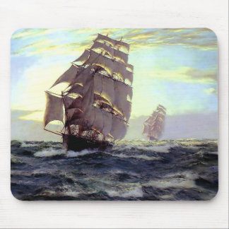 Sail Ship in the Sea painting Mouse Pad