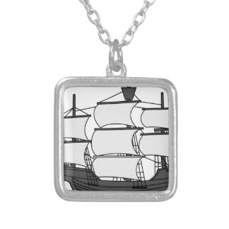 Sail Ship Silver Plated Necklace