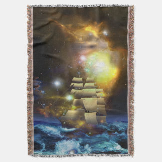 Sail Ship Universe Woven Throw Blanket