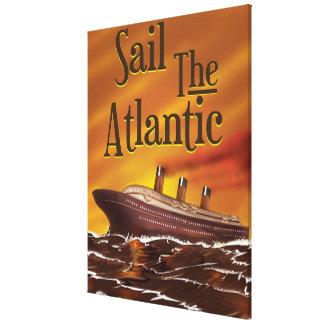 Sail the Atlantic vintage travel poster Canvas Prints