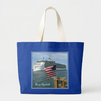 Sailaway with Flag Personalized Large Tote Bag