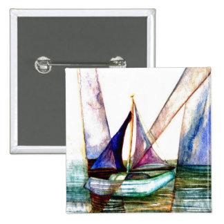 Sailboat Abstract - CricketDiane Ocean Art 15 Cm Square Badge