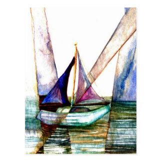 Sailboat Abstract - CricketDiane Ocean Art Postcard