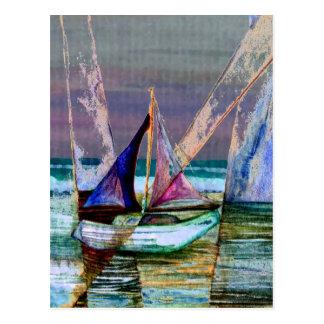 Sailboat Abstract Turquoise Sea Postcard