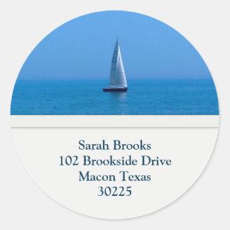 Sailboat Address Labels Round Sticker