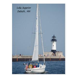 Sailboat Ahoy!, Lake Superior  Duluth, MN Postcard
