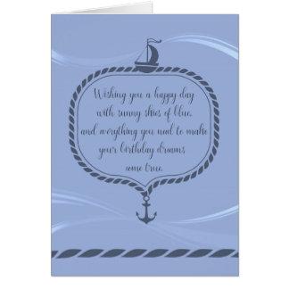 Sailboat and Anchor Nautical Happy Birthday Card