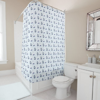 Sailboat and Anchor Shower Curtain