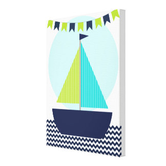 Sailboat and Banner Baby Nursery Canvas