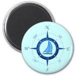 Sailboat And Compass Rose Fridge Magnet
