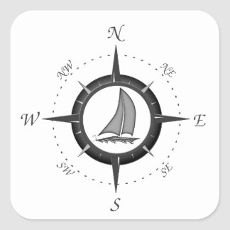 Sailboat And Compass Rose Square Stickers