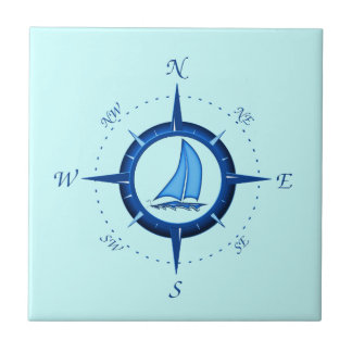 Sailboat And Compass Rose Tile