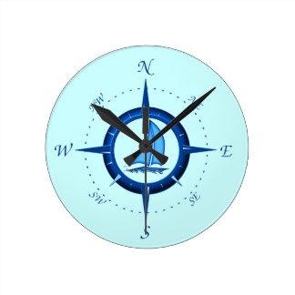 Sailboat And Compass Rose Wall Clocks