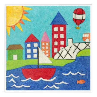 Sailboat and Hot Air Balloon with Cityscape Acrylic Wall Art