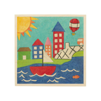 Sailboat and Hot Air Balloon with Cityscape Wood Print