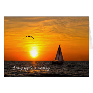 Sailboat and Sunset on Lake Card