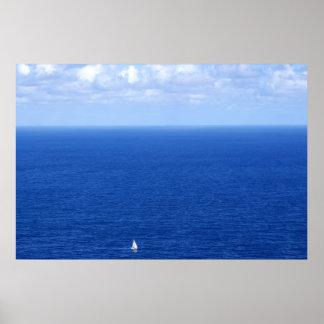 Sailboat and the horizon poster