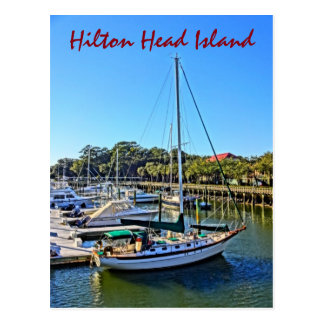 Sailboat At Shelter Cove Marina Hilton Head Island Postcard