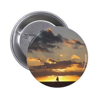 Sailboat at sunset 6 cm round badge