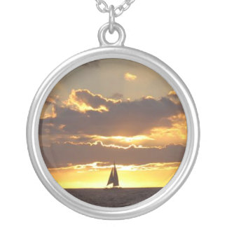 Sailboat at sunset pendant necklace