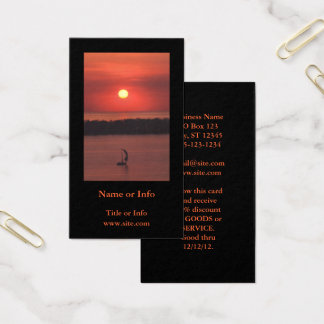 Sailboat at Sunset Photo Business Card