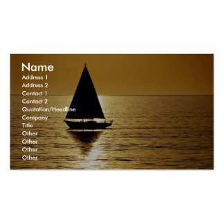 Sailboat at sunset, sloop business card template