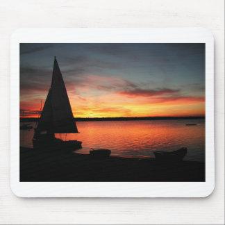 Sailboat beach sunset mouse pad