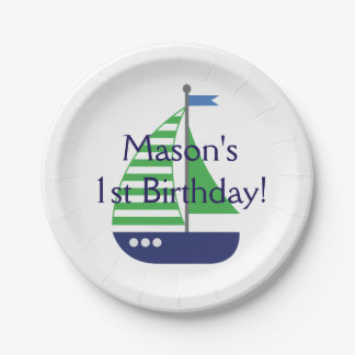 Sailboat Birthday Paper Plates 7 Inch Paper Plate