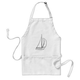 Sailboat Black White Drawing Standard Apron