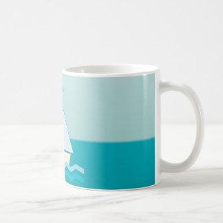 Sailboat (blue) coffee mugs
