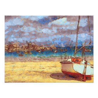 Sailboat by a Brittany Harbour Photo Art