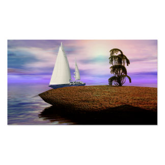 Sailboat by a Deserted Island Business Card Templates