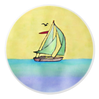 Sailboat Ceramic Knob