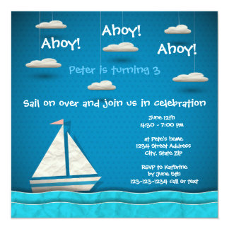 Sailboat & Clouds - Birthday Invitation