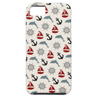 Sailboat Dolphin Anchor Pattern Navy and Red Tough iPhone 5 Case