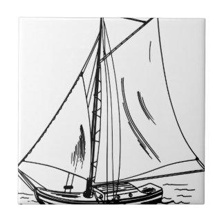 Sailboat Drawing Vintage Small Square Tile