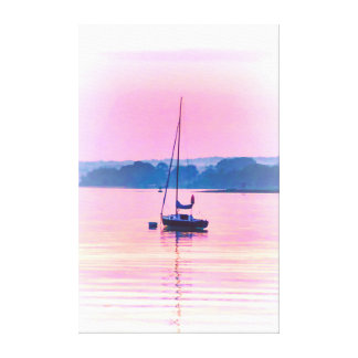 Sailboat floating in early morning light. canvas print