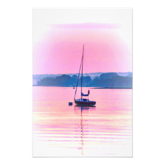 Sailboat floating in early morning light. photo print