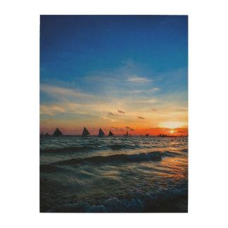 Sailboat Flotilla in Silhouette 1 Wood Print