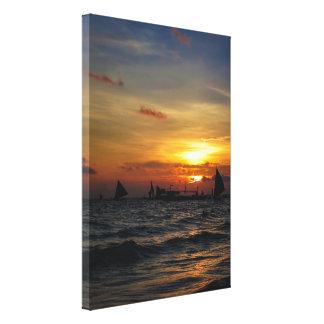 Sailboat Flotilla in Silhouette 2 Canvas Print