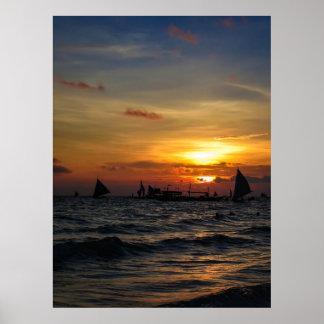 Sailboat Flotilla in Silhouette 2 Poster