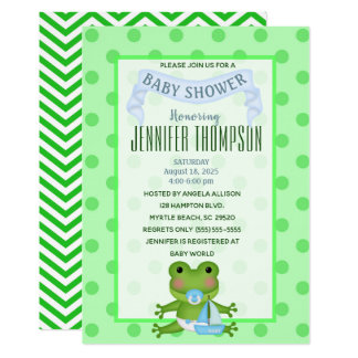 Sailboat Frog Baby Shower Invitation