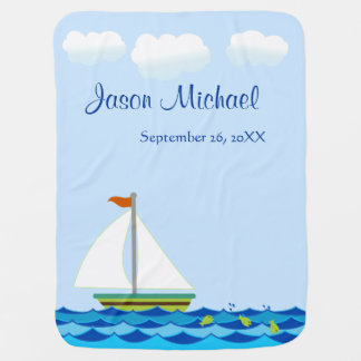 Sailboat Green & Blue Personalized Two Sided Baby Blanket