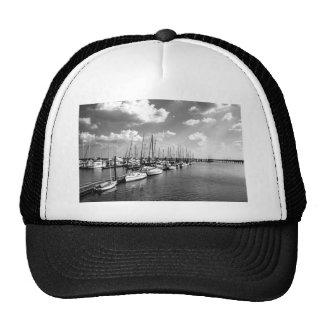 Sailboat Harbor in Black and White Cap